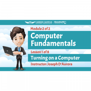 turning on a computer image